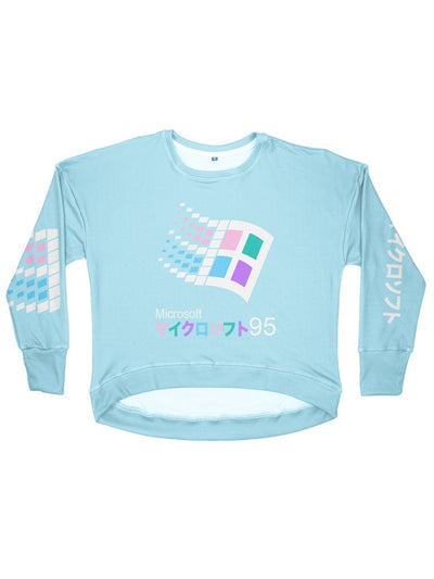 candy 95 women's drop shoulder sweatshirt - Public Space xyz - vaporwave aesthetic clothing fashion, kawaii, pastel, pastelgrunge, pastelwave, palewave