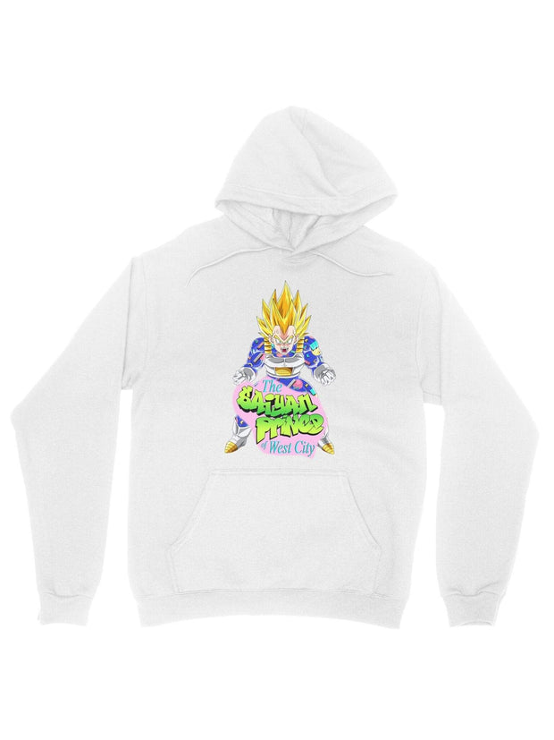 the saiyan prince (white) cotton hoodie