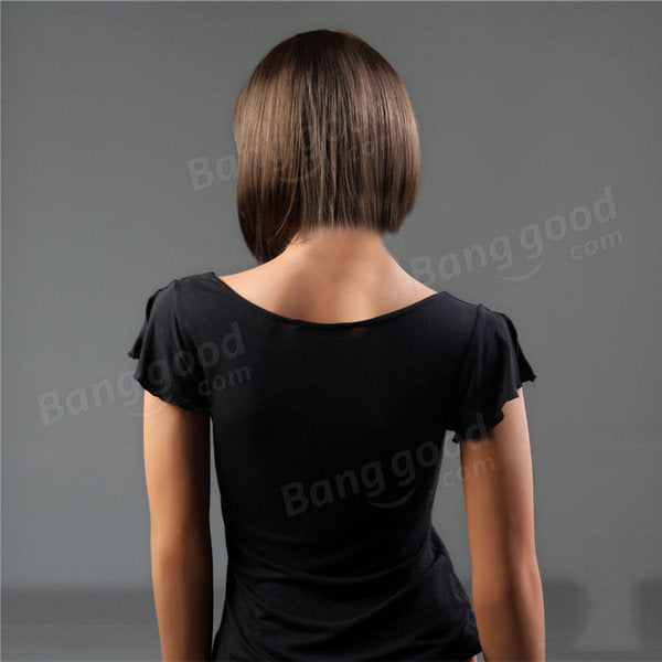 NAWOMI Short Capless 100% Kanekalon Synthetic Hair Wig Bobo Straight Dark Brown Natural Smooth