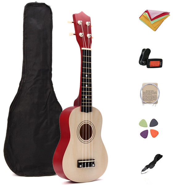21 Inch Basswood Ukulele Hawaii Guitar Musical Instrument with Tuner Bag