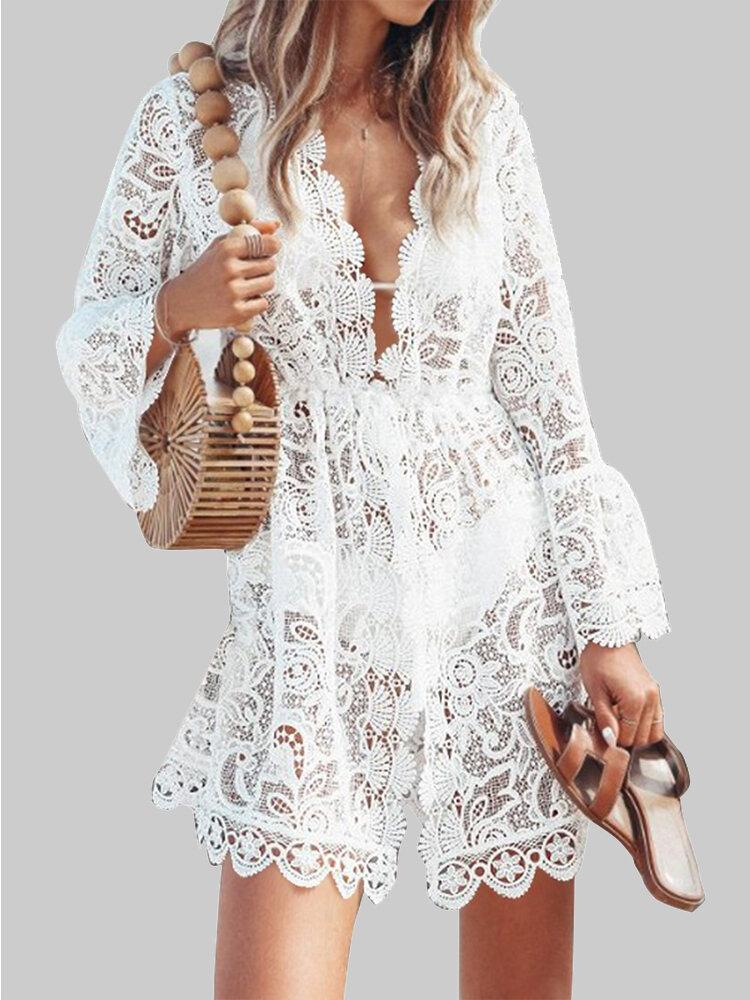 Lace V-neck Ruffle Summer Beach Bikini Hollow Out Causal Dress - EY Shopping