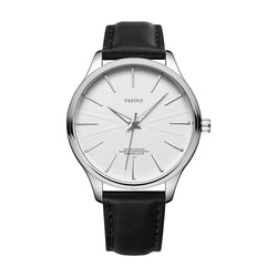 YAZOLE 512 Business Style Simple Dial Clean Lines Leather Strap Men Quartz Watch