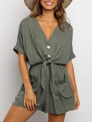 Women Solid Color V-neck Button Elastic Waist Loose Pocket Shirt Dress - EY Shopping
