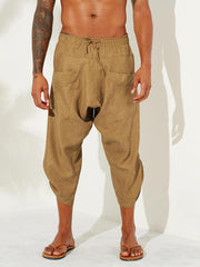 Mens Vintage Solid Color Casual Corduroy Calf Length Harem Pants - EY Shopping