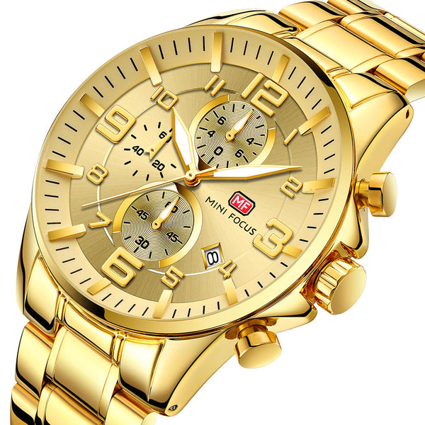 MINI FOCUS MF0278G Royal Golden Stainless Steel Chronograph Business Quartz Watch Men Wristwatch