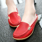 US Size 5-10 New Women Casual Fashion Breathable Round Toe Slip-On Leather  Flat Sandals Shoes - EY Shopping