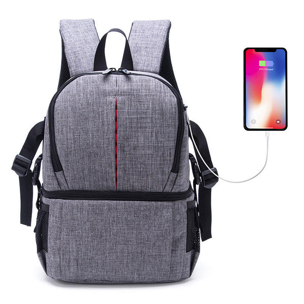 Water-resistant Anti-Theft Camera Bag Backpack Charge Earphone Hole for DSLR Camera Lens Tripod
