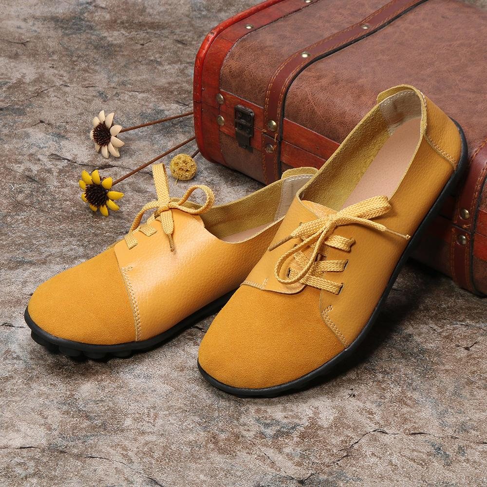 Plus size Women Lace Up Leather Flats Soft Casual Shoes - EY Shopping