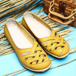 Large Size Hollow Out Leather Loafers Moccasin Casual Flats - EY Shopping