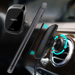 Neekin Metal Glass Magnetic 3 In 1 10W Qi Wireless Charger Fast Charging With Car Aroma Diffuser Car Air Vent Phone Holder for 4.7 Inch - 6.5 Inch Smart Phone
