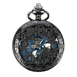 DEFFRUN Elegant Blue Needle Full Steel Mechanical Pocket Watch