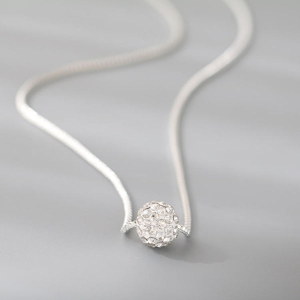 Atmospheric Simple 8mm Diamond Ball Venetian Chain Necklace