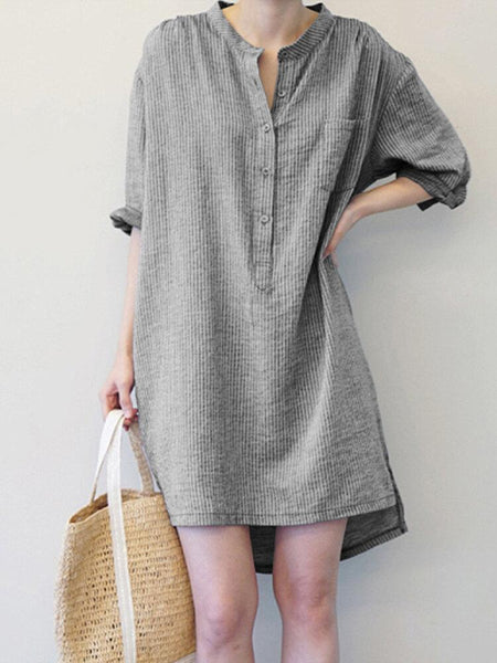 Women Vintage Striped Button Long Sleeve Shirt Mini Dress - EY Shopping