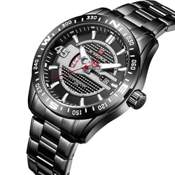 NAVIFORCE 9157 Waterproof Stainless Steel Band Quartz Watch Calendar Auto Date Men Watch