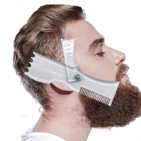 New Beard Shaping Tool Trimming Shaper Template Comb Transparent Men's Beards Combs Beauty Tool For Hair Beard Trim Templates