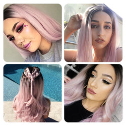 24 Inch T Pink Wig Front Lace Chemical Fiber Wig ladies high temperature silk half hand hook big curly hair
