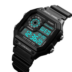 SKMEI 1299 Countdown Alarm Stainless Steel Waterproof Digital Watch