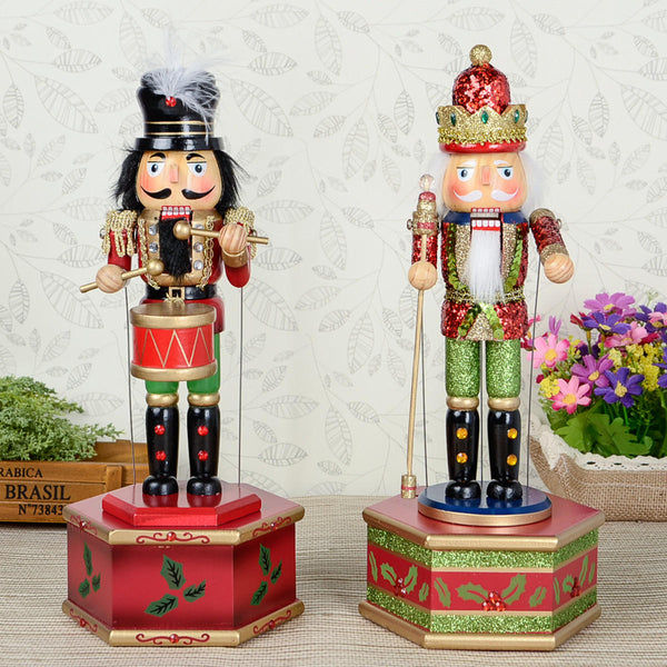 32cm Wooden Music Box Nutcracker Doll Soldier Vintage Handcraft Decoration Christmas Gifts