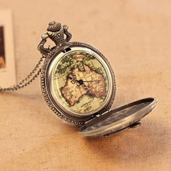 Deffrun Constellation Compass Pocket Watches Metal Case Quartz Watch