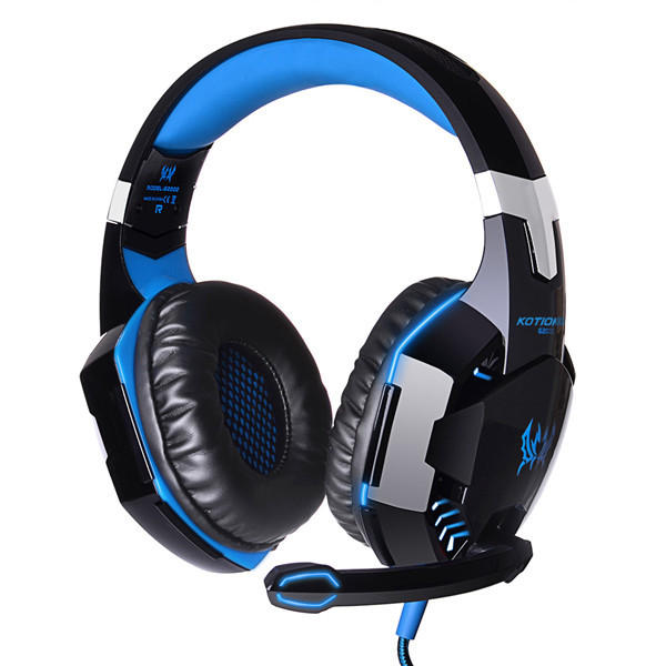 KOTION EACH Over Ear Stereo Bass Gaming Headphone Headset Headbrand with Mic LED for PC XBOX PS4