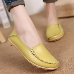 Soft Leather Round Toe Comfy Flats For Women - EY Shopping