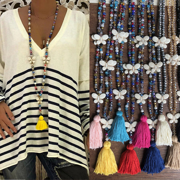 Bohemian Butterfly Tassel Pendant Necklace Ethnic Handmade Transparent Bead Long Necklace