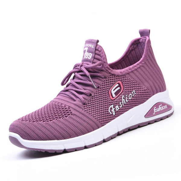 Women Letter Parttern Fabric Breathable Wearable Sports Casual Sneakers - EY Shopping
