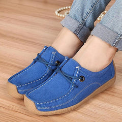 Women Casual Soft Suede Comfortable Lace Up Round Toe Flat Loafers Shoes - EY Shopping