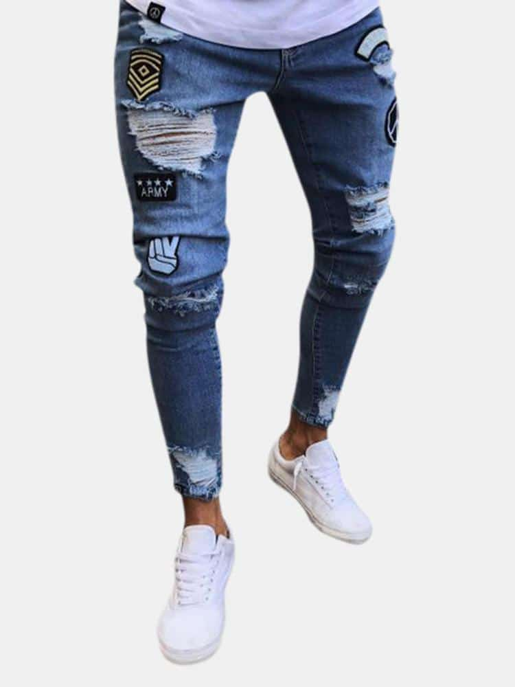 Stylish Hip Hop Ripped Holes Washed Skinny Designer Jeans For Men - EY Shopping