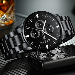 CRRJU 2222 Chronograph Men Wrist Watch Full Steel Business Style Quartz Watches