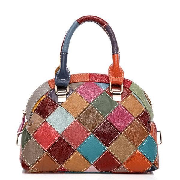 Women Patchwork Genuine Leather Crossbody Bag Handbag - EY Shopping