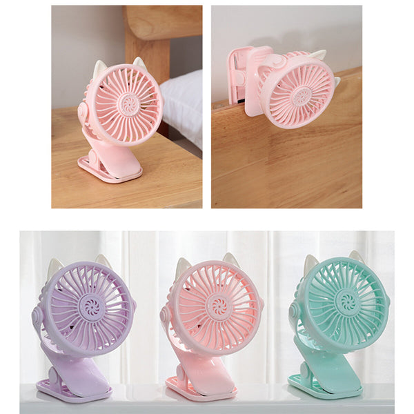 1200mAh 2 in 1 Mini USB Rechargeable Fan Portable Handheld Fan Cooling Summer Base Clip Fan With Night Light