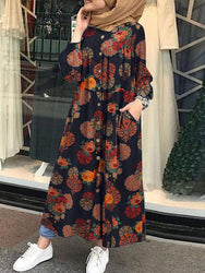 Women Retro Floral Print O-neck Button Robe Shirt Maxi Dress With Pocket - EY Shopping