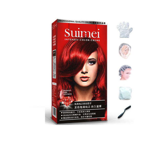 SUIMEI Professional Use Colour Cream Golden Brown Red Purple Color Dye Cream Natural Permanent Hair Dye with Peroxide Gream