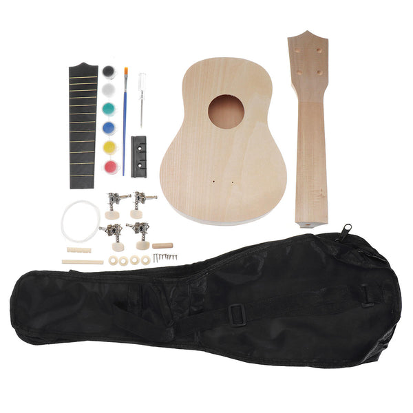21 Inch Basswood Ukulele DIY Kit Handwork Support Painting Ukulele with Accessories