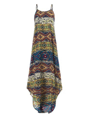 S-5XL Women Casual Print Sleeveless Strap Dress - EY Shopping
