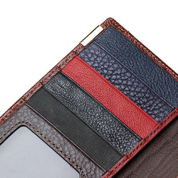 Women Genuine Leather Patchwork Long Wallet Elegant Random Pattern Purse Card Holder