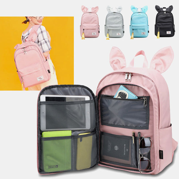 Women Multifunctional Light Weight Backpack Rabbit Large Capacity Solid School Bag