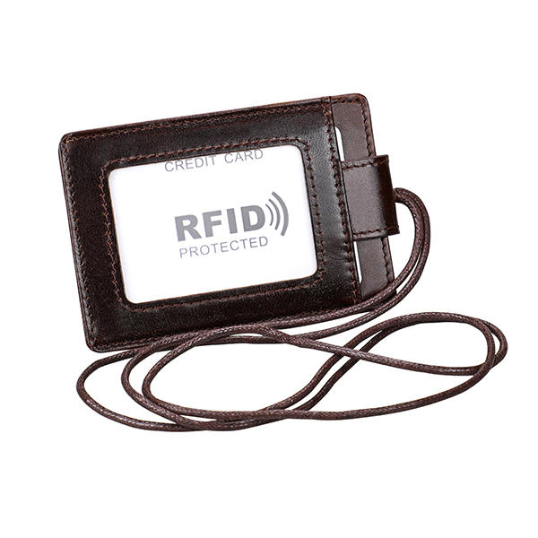 RFID Genuine Leather 4 Card Slot Neck Bag Solid Vintage Purse Card Holder