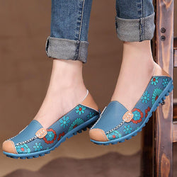 Big Size Women Flower Floral Leather Loafers Moccasins Flats Soft Ballet Shoes Round Toe Flats - EY Shopping