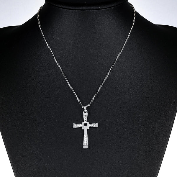 Men Cross Pendant Chain Long Necklace Crystal Alloy