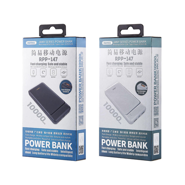 Remax Jany Series 10000mAh RPP-147 Dual USB + Micro Type-C Input Power Bank for Samsung S10+ Redmi Xiaomi Mi9 HUAWEI for iPhone