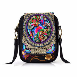 Woman National Floral Canvas 5.5 Inches Phone Bag Casual Crossbody Bag