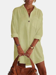 Solid Color Turn-down Collar Long Sleeve Pocket Shirt Dress - EY Shopping