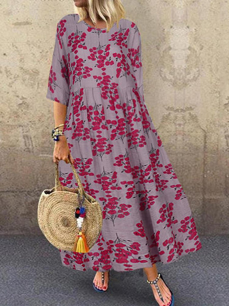 Women 3/4 Sleeve O-neck Floral Maxi Dress - EY Shopping