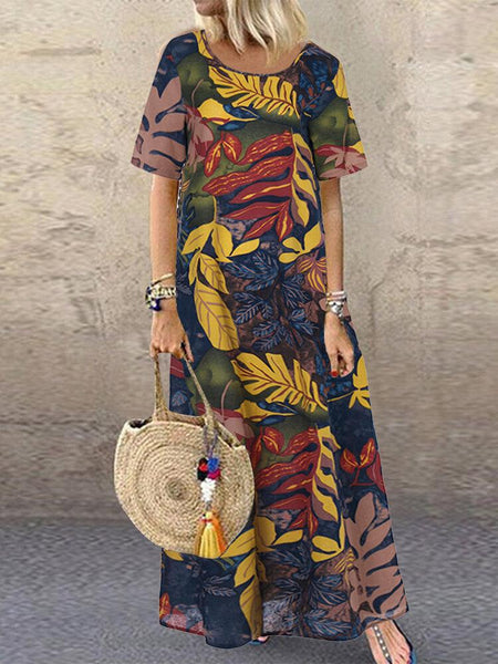 Women Short Sleeve Crew Neck Floral Cotton Vintage Maxi Dress - EY Shopping