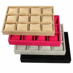 KINGSO 12 Slots Luxury Flannel Watch Box Jewellery Display Collection Storage Box with Pillows