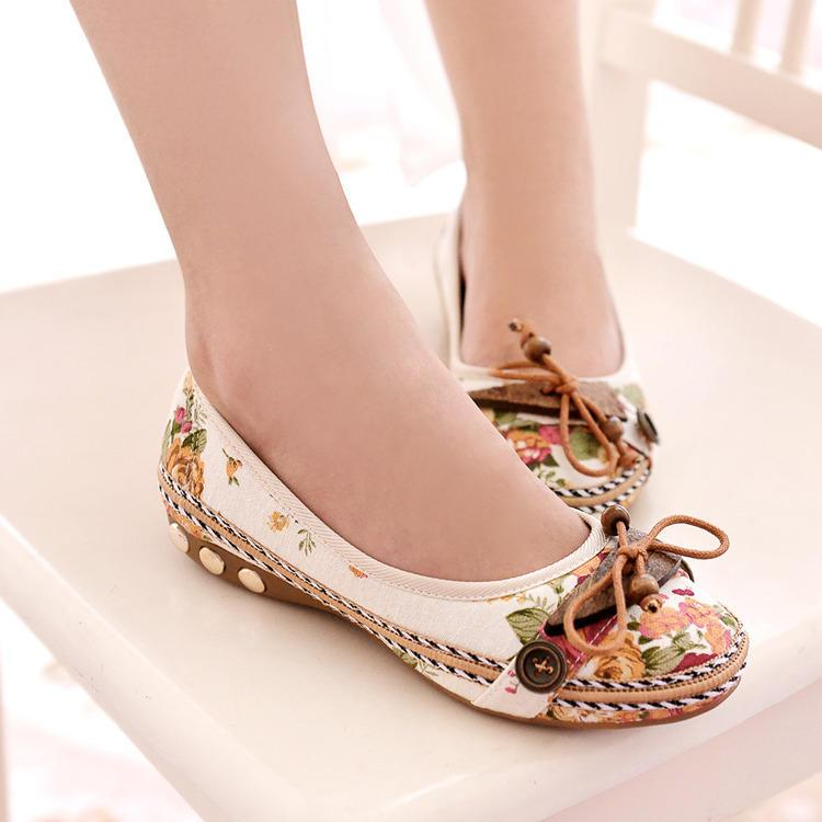 Women Casual Flat Loafers Round Toe Flats Colorful Round Toe Loafers - EY Shopping