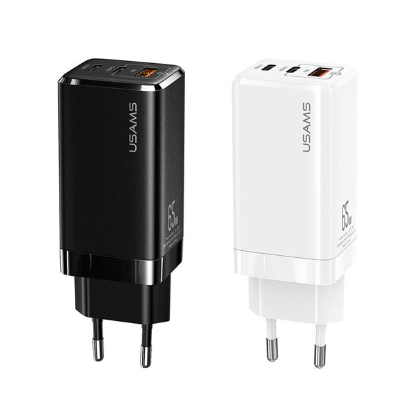 USAMS CC110 65W USB3.0 Type-C 65W GaN Mini Type-C PD Charger + USB Charger for Samsung S10 Matebook for iPhone 11 Pro Max Notebook MacBook Tablet HUAWEI P30Pro Xiaomi Redmi For Nintendo Switch
