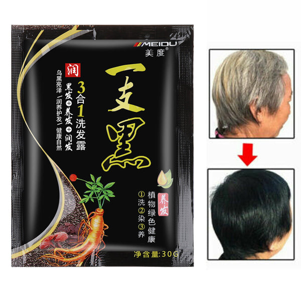 30g Instant Hair Dye Color White Hair into Black Natural Shampoo Plant Ginger Extracts Mild Formula White Become Black